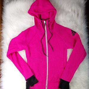 adidas Neon Pink Full Zip Mesh Hoodie Jacket XS